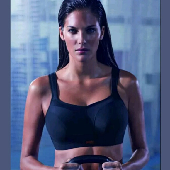ef9fcfee01c5f Panache Sports Bra Solid Black Underwire Size 34HH